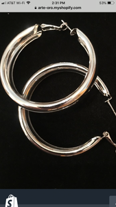 Rhodium plated 50 mm hoops from Italy