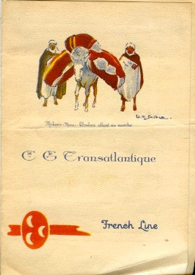 (Menu)  {Pochoir}  Cie Gle Transatlantique, French Ocean Liner Ile de France.  [1926].