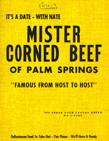 (Palm Springs)  {Menu}  Nate's, Mister Corned Beef.  [ca. 1950's].