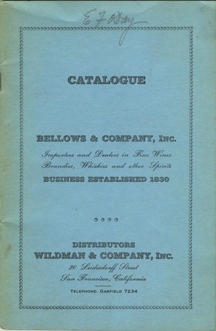 [Wine] (Catalogue) Wildman & Co., Inc., Distributors.  [1934].
