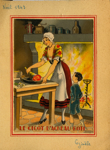 (Menus)  [Pochoir]  Les Coquilles St. Jacques & Le Gigot d'Agneau Roti.  Illustrated by Jean Chaperon.  [1947].