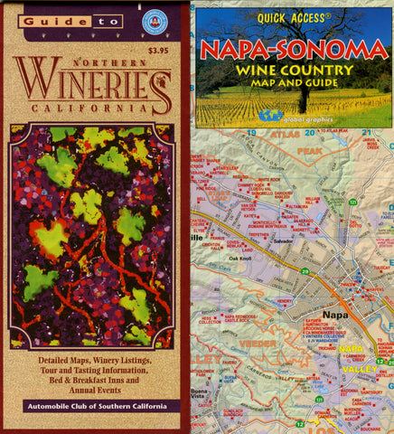 (Maps)  2 Maps:  Napa-Sonoma Wine Country Map and Guide, plus Guide to Wineries, Northern California.  [2002].
