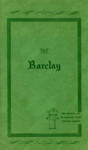 (Menu)  {Chicago}  The Barclay.  [1957].