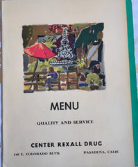 (Menu) Center Rexall Drug. Pasadena, CA. (ca. 1950's).