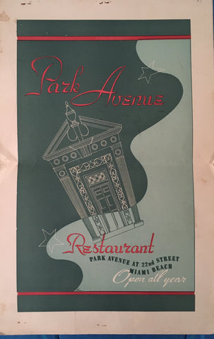 (Menu) Park Avenue Restaurant & Club, Miami Beach.  [ca. 1940's].