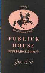 (Wine List) Publick House, Sturbridge, MA. (ca. 1940's).