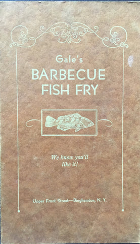 (Menu) Gale's Barbecue Fish Fry. [ca.1930's].