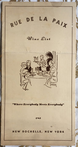(Menu) {Wine List} Rue de la Paix. New Rochelle, NY. [ca. 1930's].