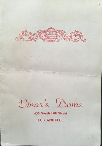 (Cocktail Menu) Omar's Dome. Los Angeles. (ca.1930's).
