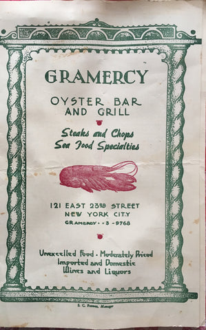 (Menu) Gramercy Oyster Bar and Grill, New York City. [ca. 1940].