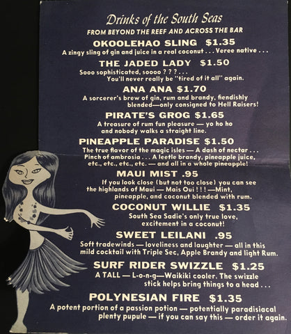 (Cocktail Menu) Hawaiian Room, Hotel Lexington, NYC. [ca. 1940's].