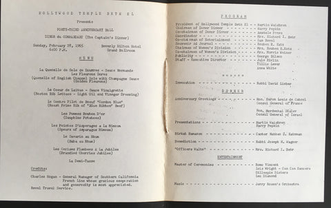 (Menu) Hollywood Temple Beth El. Beverly Hilton Hotel. [1965].