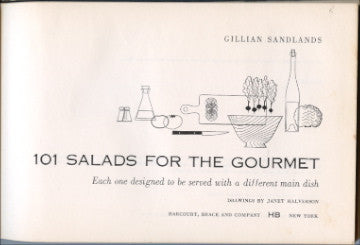 (Salads)  101 Salads For The Gourmet.  By Gillian Sandlands.  [1954].  1st edition.