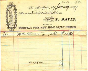 (Ephemera)  {No. Montpelier, VT}  Invoice on Letterhead of N. Davis, Maker of Strictly Fine New Milk Dairy Cheese.   [1857].