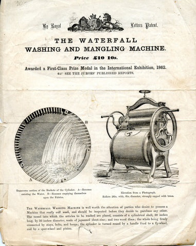 The Waterfall Washing and Mangling Machine.  [ca. 1860's].