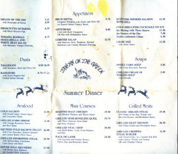 (Menu)  Tavern On The Green. Summer Dinner. [ca. 1980's].
