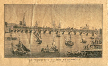 (France)  {Engraving}  Vue Perspective du Pont de Bordeaux.  [ca. 1850's].