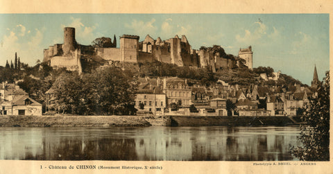 (Photography)  {Chateaux of the Loire Valley, France}  Group of Five Color Collotypes of French Chateaus.  By A[lexandre]. Bruel.  [ca. 1920's].