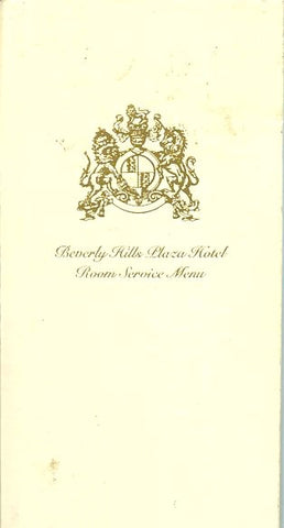 (Menu)  Beverly Hills Plaza Hotel - Room Service.  [ca. 1990's].