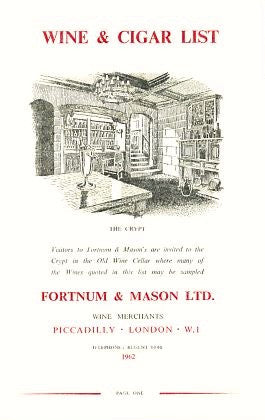 Wine & Cigar List. Fortnum & Mason, Ltd. [1962].