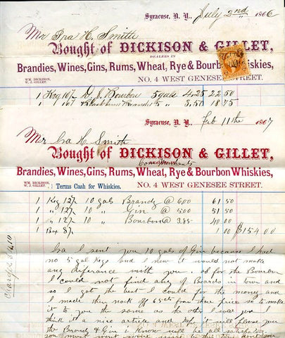 (Syracuse, NY) 2 Letterheads. Dickison & Gillet Dealers in {Liquor}.  [1866, 1867].
