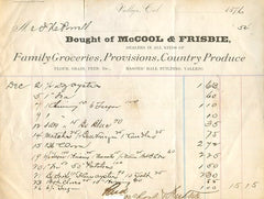 (Vallejo, CA) {Invoice} McCool & Frisbie, Family Groceries, Provisions, Country Produce.  Masonic Hall Building, Dec. 2-26, 1876.