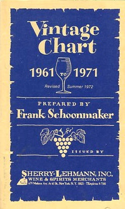 (Wine) Vintage Chart 1961 to 1971. Sherry-Lehmann, Inc. [1971].