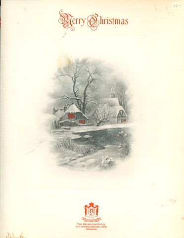 (Menu) The Arlington Hotel. Hot Springs National Park, Arkansas. Dec. 25, 1935.