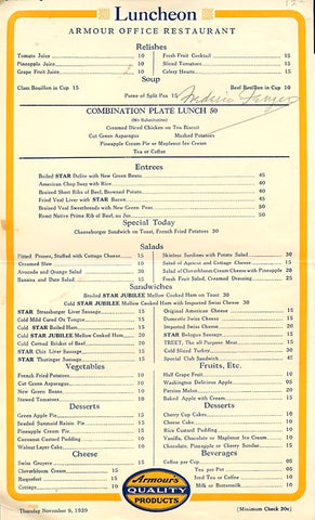Amour Office Restaurant. Luncheon Menu. [Chicago]: Nov.. 9, 1939.