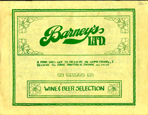 (Menu) Barney's Ltd. Rest. & Pub Menu, & Wine & Beer Selection. Pasadena, CA. [ca, 1970's].