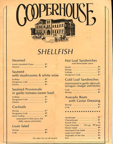 (Menu) Cooper House. Shellfish and Wine List. [ca. late 1970's].