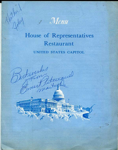 House of Representatives Restaurant. Luncheon Menu. Washington D.C., US Capitol: [March 7, 1972].