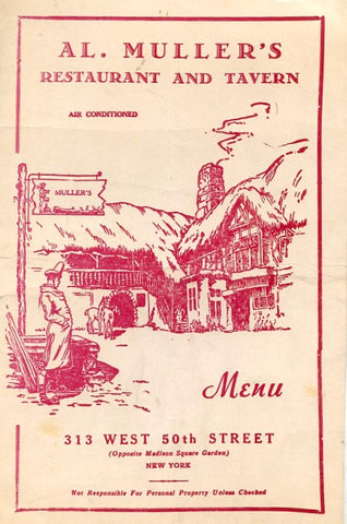 (Menu) Al. Muller's Restaurant and Tavern. NYC. [1948].