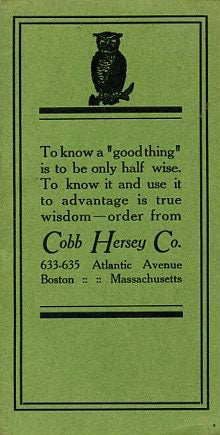 (Trade Catalog) Cobb Hersey Co. Liquor Dealers, Wholesale & Retail Sales. [ca. mid-1930's].