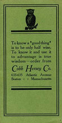 Cobb Hersey Co. Liquor Dealers, Wholesale & Retail Sales. Boston: N.d., (ca. mid-1930's).
