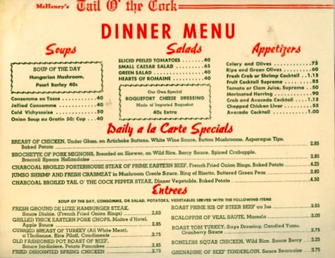 (Menu)  {Los Angeles}  McHenry's Tail o' the Cock.  Dinner Menu, June 18, 1955.