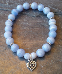 Peace ~ Blue Lace Agate ~ Stretch Bracelet