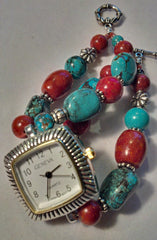 Turquoise & Apple Coral Watch ~ 8 inches