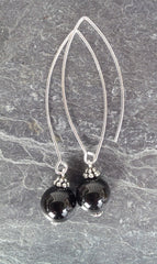 Grounding ~  Black Onyx ~ Bow Dangle Earrings