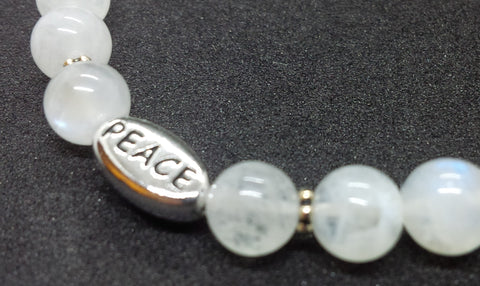 Self-awareness ~  Rainbow Moonstone ~ Stretch Bracelet 6 mm