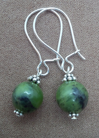 Abundance ~ BC Jade ~ Locking Hook Sleeper Earrings