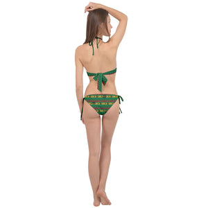 2570 - Cannabis Morogoro Green Marijuana Badges with Marijuana Leaves Cross Front Halter Bikini Set