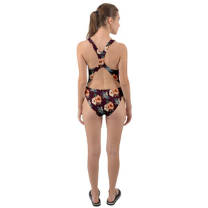 1800 - Hawaii Floral Cut-Out Back One Piece Swimsuit