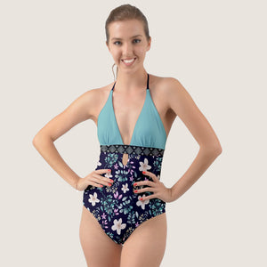 Blue Summer Floral Halter Cut-Out One Piece Swimsuit