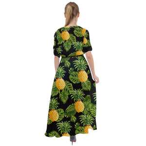 3097 - Black Pineapple Waist Tie Boho Maxi Dress