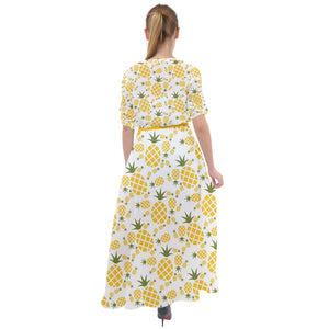 3110 - Yellow Pineapple Pattern Waist Tie Boho Maxi Dress