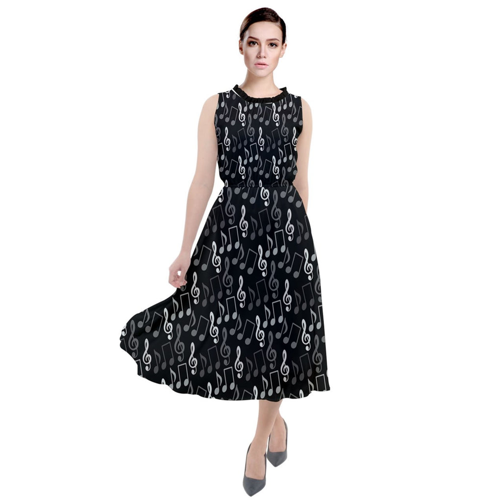 3111- Black Pattern with Music Notes Treble Clef Round Neck Boho Dress