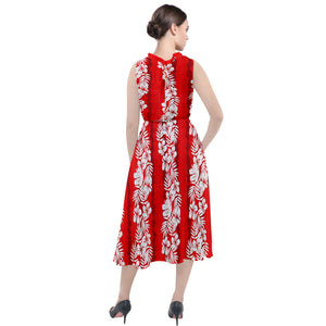 3111- Frangipani Floral Red Stripes Round Neck Boho Dress