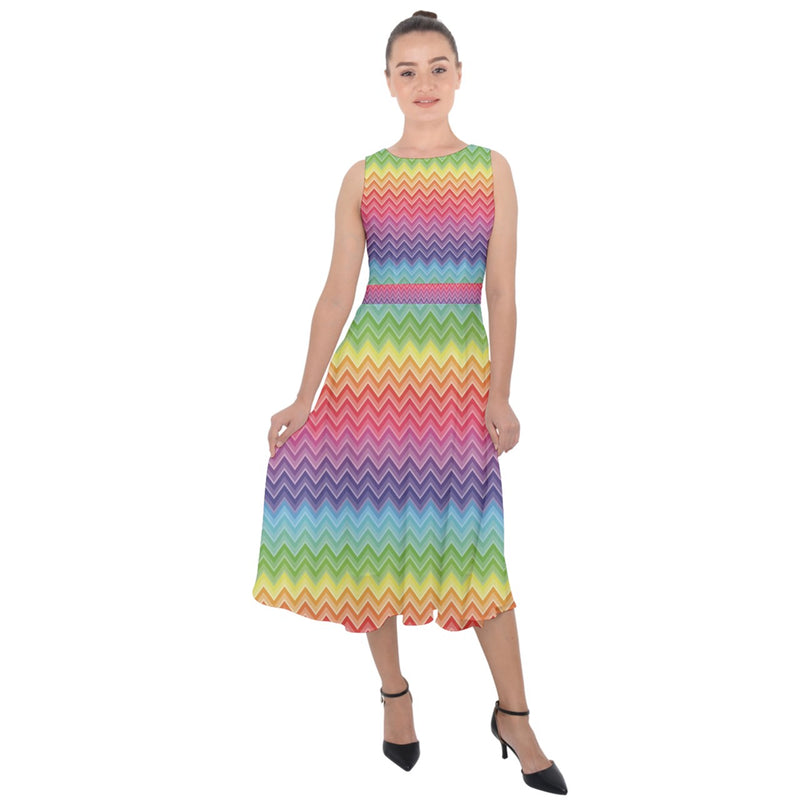 1998 - Colorful Chevron Rainbow Colored Pattern Women's Midi Tie-Back Chiffon Dress