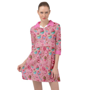 2856 - Pink Yummy Colorful Sweet Lollipop Candy Macaroon Cupcake Donut Seamless Mini Skater Shirt Dress